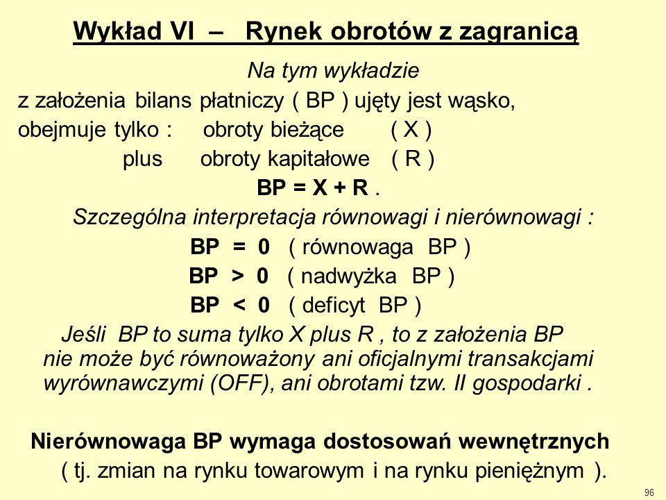 96 Wykład VI – Rynek obrotów z zagranicą Na tym wykładzie z założenia bilans płatniczy ( BP ) ujęty jest wąsko, obejmuje tylko : obroty bieżące ( X )
