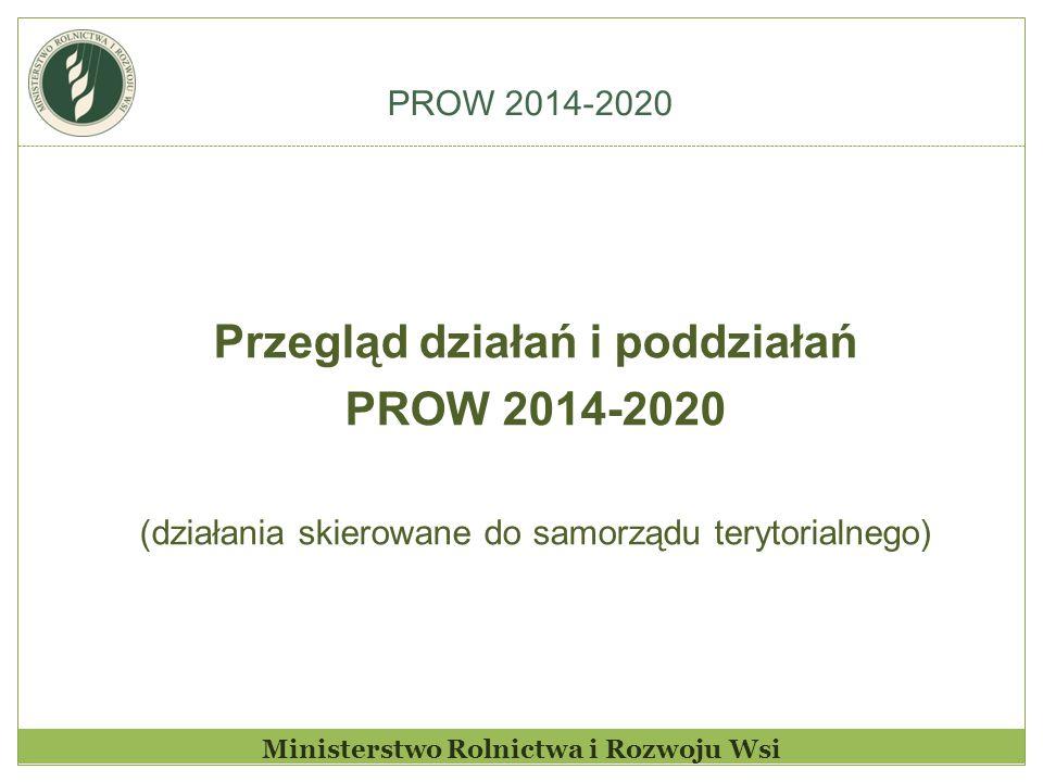 PROW 2014-2020 Ministerstwo Rolnictwa i Rozwoju Wsi Przegląd działań i poddziałań PROW 2014-2020 (działania skierowane do samorządu terytorialnego)
