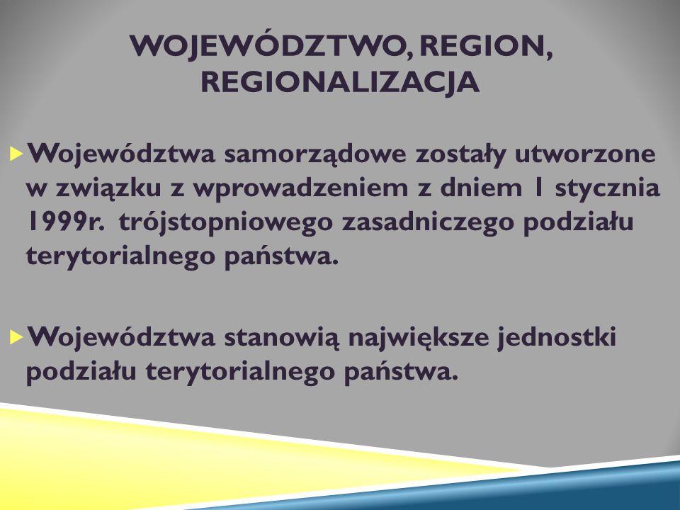 WOJEWÓDZTWO, REGION, REGIONALIZACJA  Województwa samorządowe zostały utworzone w związku z wprowadzeniem z dniem 1 stycznia 1999r.