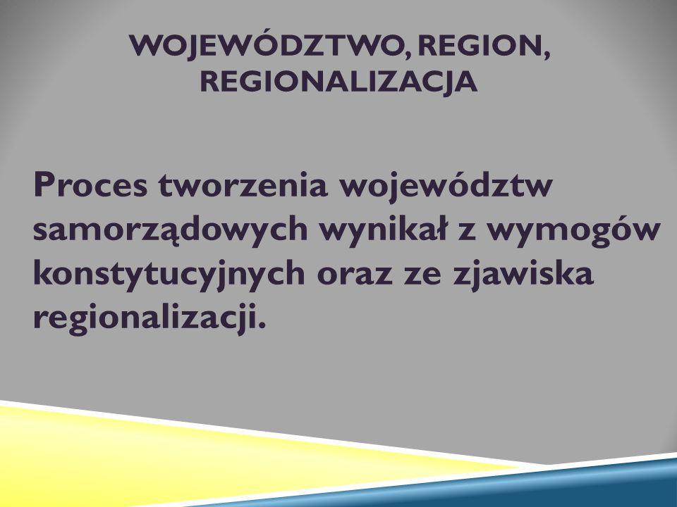 WOJEWÓDZTWO, REGION, REGIONALIZACJA Proces tworzenia województw samorządowych wynikał z wymogów konstytucyjnych oraz ze zjawiska regionalizacji.