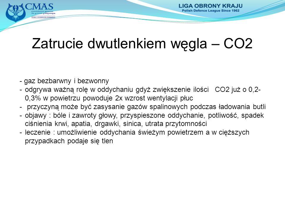 Zatrucie dwutlenkiem węgla – CO2 - gaz bezbarwny i bezwonny -odgrywa ważną rolę w oddychaniu gdyż zwiększenie ilości CO2 już o 0,2- 0,3% w powietrzu p