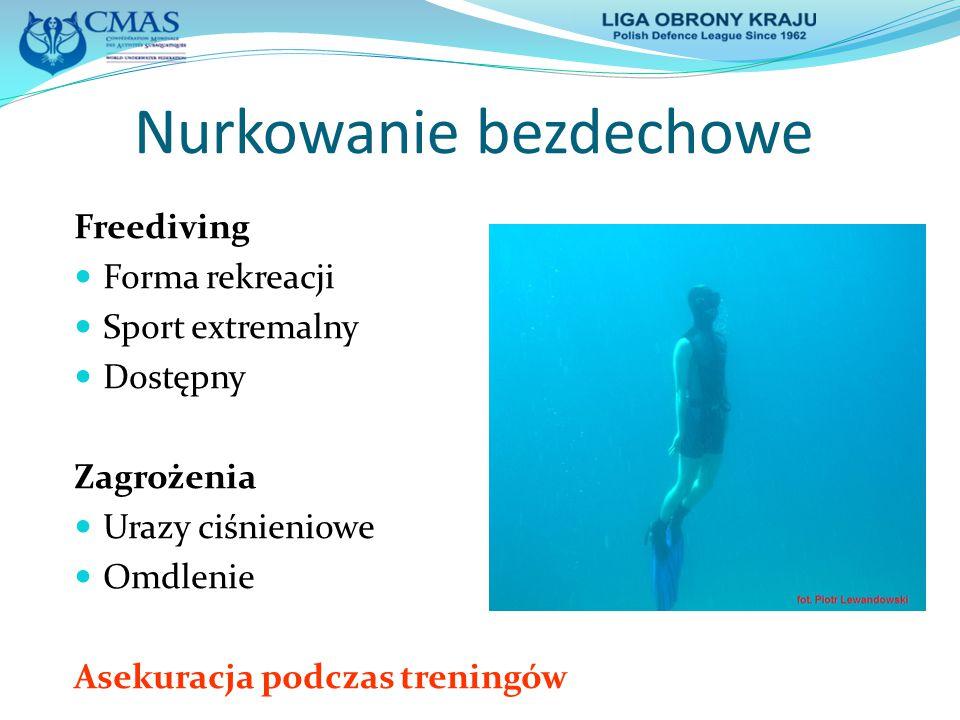 Nurkowanie bezdechowe Freediving Forma rekreacji Sport extremalny Dostępny Zagrożenia Urazy ciśnieniowe Omdlenie Asekuracja podczas treningów