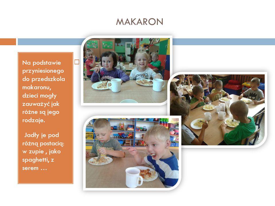 MAKARON Na podstawie przyniesionego do przedszkola makaronu, dzieci mogły zauważyć jak różne są jego rodzaje. Jadły je pod różną postacią: w zupie, ja