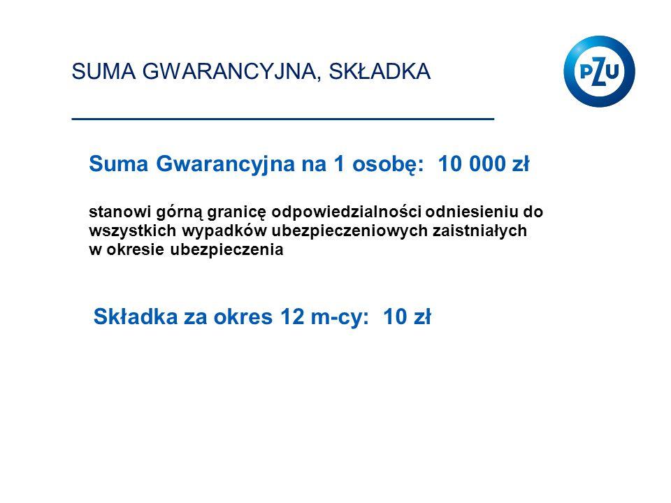 SUMA GWARANCYJNA, SKŁADKA Suma Gwarancyjna na 1 osobę: 10 000 zł stanowi górną granicę odpowiedzialności odniesieniu do wszystkich wypadków ubezpiecze