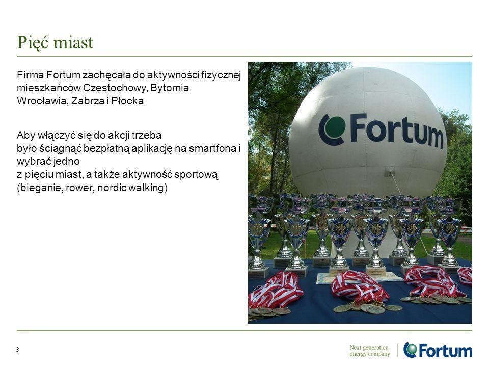 Pięć miast Firma Fortum zachęcała do aktywności fizycznej mieszkańców Częstochowy, Bytomia Wrocławia, Zabrza i Płocka Aby włączyć się do akcji trzeba