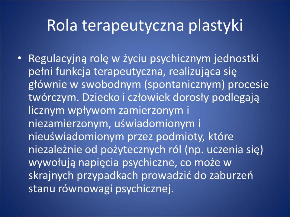 Rola terapeutyczna plastyki Regulacyjną rolę w życiu psychicznym jednostki pełni funkcja terapeutyczna, realizująca się głównie w swobodnym (spontanic