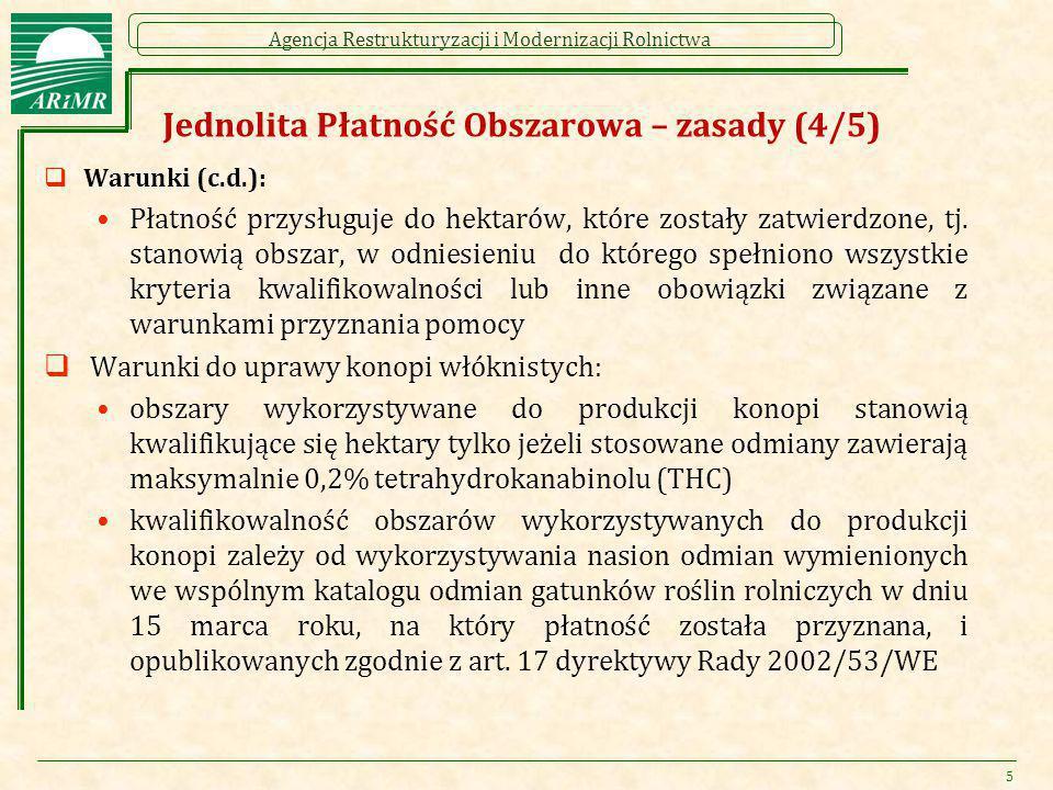 Agencja Restrukturyzacji i Modernizacji Rolnictwa Jednolita Płatność Obszarowa – zasady (4/5)  Warunki (c.d.): Płatność przysługuje do hektarów, któr
