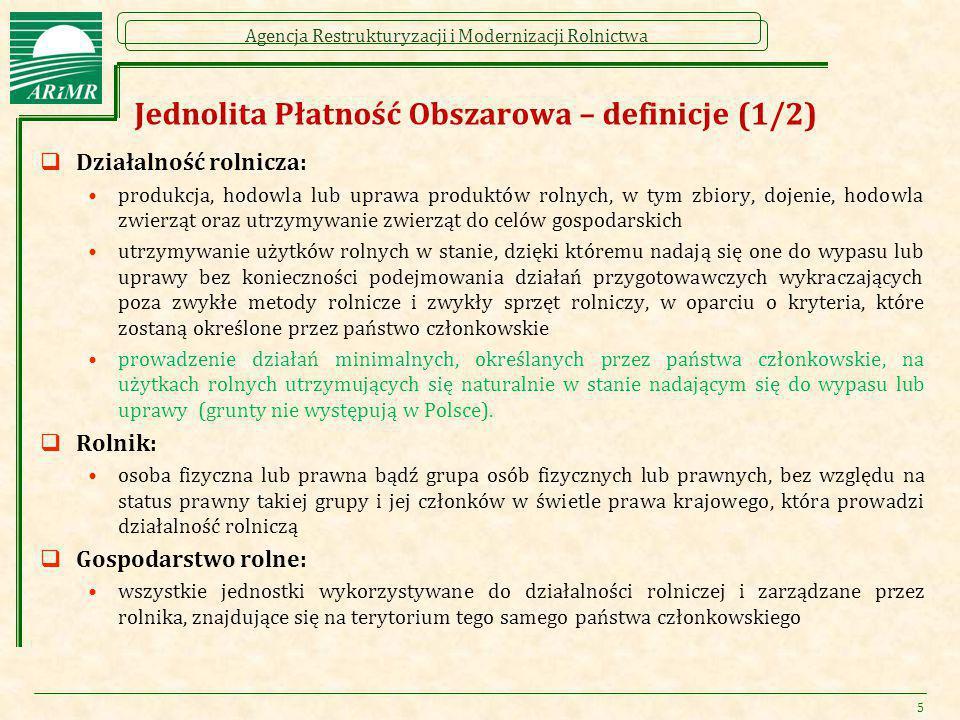 Agencja Restrukturyzacji i Modernizacji Rolnictwa Jednolita Płatność Obszarowa – definicje (1/2)  Działalność rolnicza: produkcja, hodowla lub uprawa