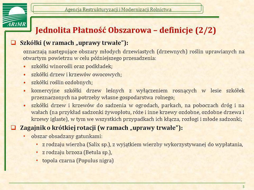 """Agencja Restrukturyzacji i Modernizacji Rolnictwa Jednolita Płatność Obszarowa – definicje (2/2)  Szkółki (w ramach """"uprawy trwałe""""): oznaczają nastę"""