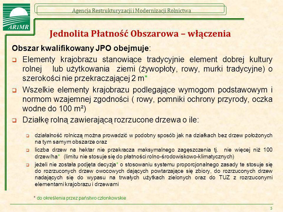 Agencja Restrukturyzacji i Modernizacji Rolnictwa Jednolita Płatność Obszarowa – włączenia Obszar kwalifikowany JPO obejmuje:  Elementy krajobrazu st