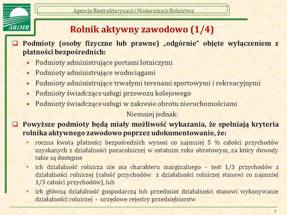 """Agencja Restrukturyzacji i Modernizacji Rolnictwa Rolnik aktywny zawodowo (1/4)  Podmioty (osoby fizyczne lub prawne) """"odgórnie"""" objęte wyłączeniem z"""