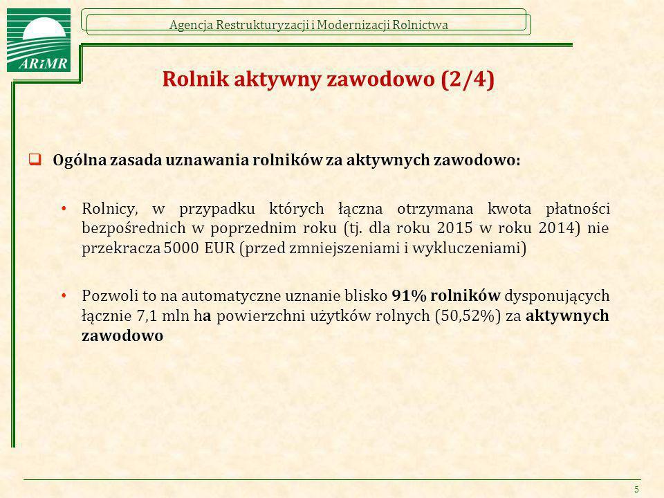 Agencja Restrukturyzacji i Modernizacji Rolnictwa Rolnik aktywny zawodowo (2/4)  Ogólna zasada uznawania rolników za aktywnych zawodowo: Rolnicy, w p