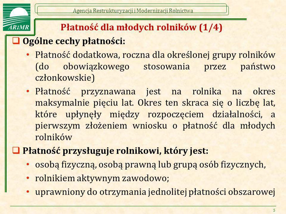 Agencja Restrukturyzacji i Modernizacji Rolnictwa Płatność dla młodych rolników (1/4)  Ogólne cechy płatności: Płatność dodatkowa, roczna dla określo