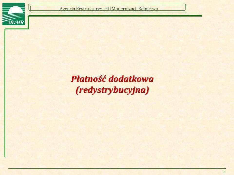 Agencja Restrukturyzacji i Modernizacji Rolnictwa Płatność dodatkowa (redystrybucyjna) 5