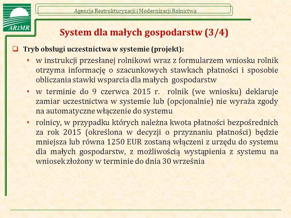 Agencja Restrukturyzacji i Modernizacji Rolnictwa System dla małych gospodarstw (3/4)  Tryb obsługi uczestnictwa w systemie (projekt): w instrukcji p