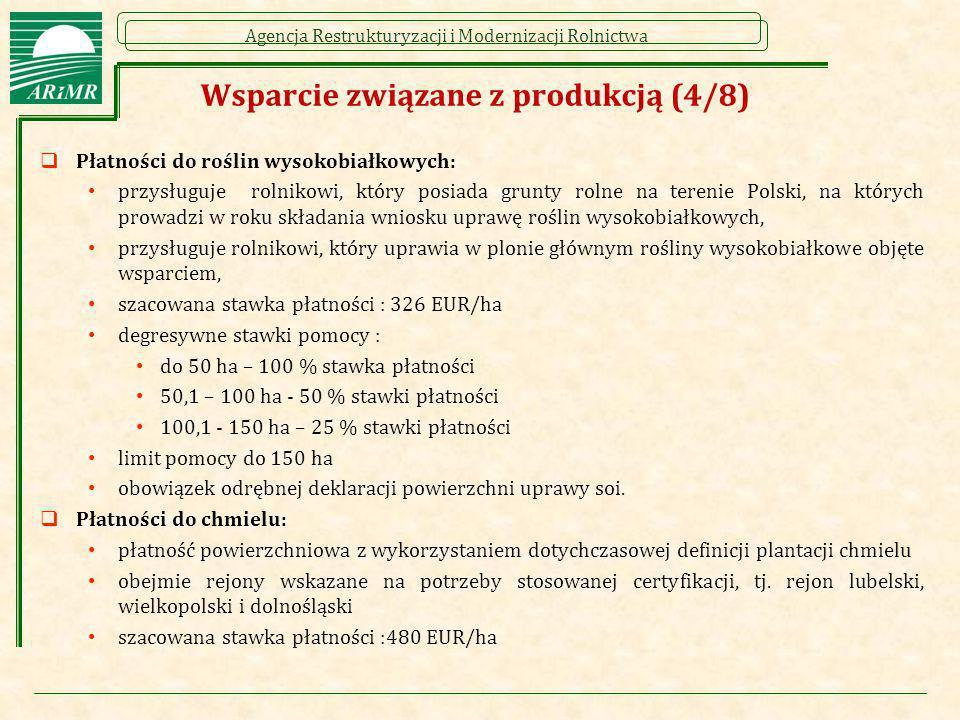 Agencja Restrukturyzacji i Modernizacji Rolnictwa Wsparcie związane z produkcją (4/8)  Płatności do roślin wysokobiałkowych: przysługuje rolnikowi, k