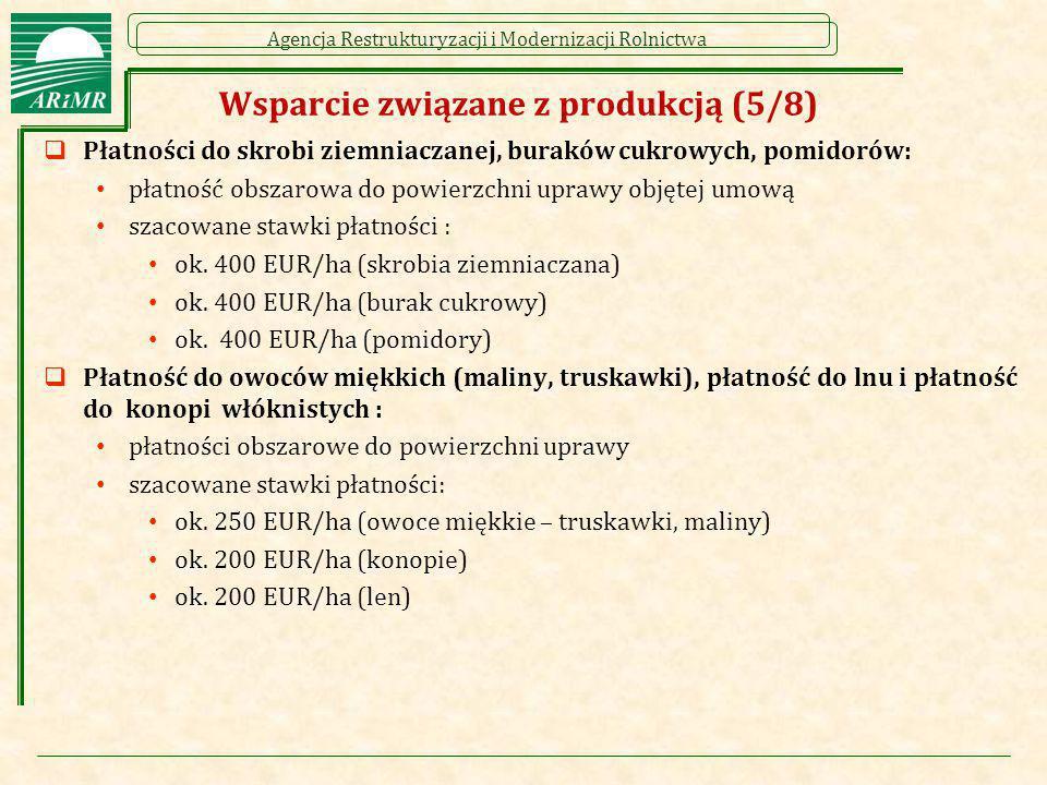 Agencja Restrukturyzacji i Modernizacji Rolnictwa Wsparcie związane z produkcją (5/8)  Płatności do skrobi ziemniaczanej, buraków cukrowych, pomidoró