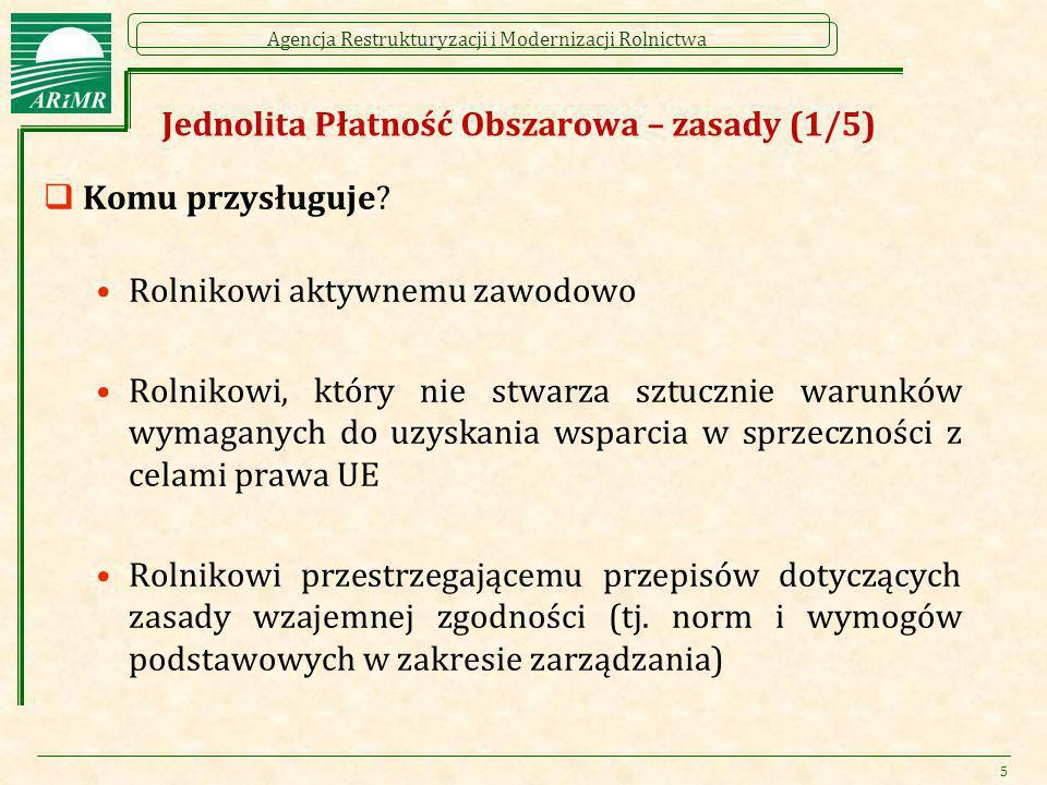 Agencja Restrukturyzacji i Modernizacji Rolnictwa Jednolita Płatność Obszarowa – zasady (1/5)  Komu przysługuje? Rolnikowi aktywnemu zawodowo Rolniko