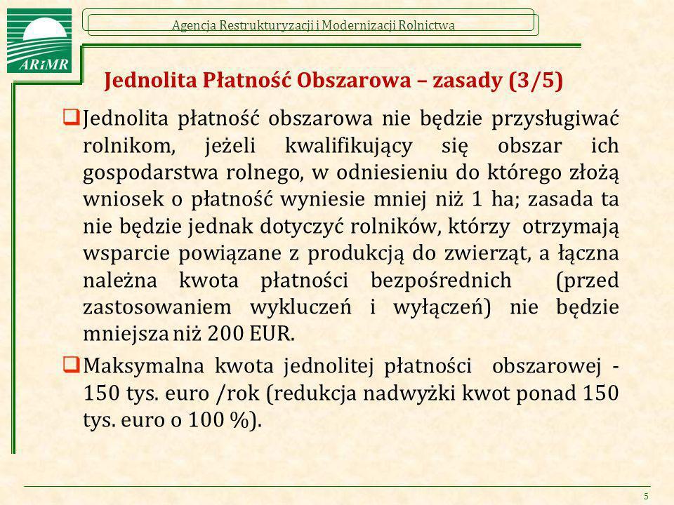 Agencja Restrukturyzacji i Modernizacji Rolnictwa Jednolita Płatność Obszarowa – zasady (3/5)  Jednolita płatność obszarowa nie będzie przysługiwać r