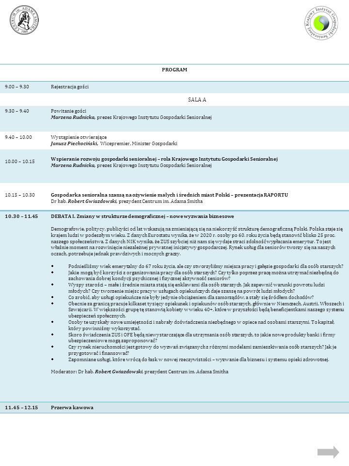 PROGRAM 9.00 – 9.30Rejestracja gości SALA A 9.30 – 9.40Powitanie gości Marzena Rudnicka, prezes Krajowego Instytutu Gospodarki Senioralnej 9.40 – 10.0