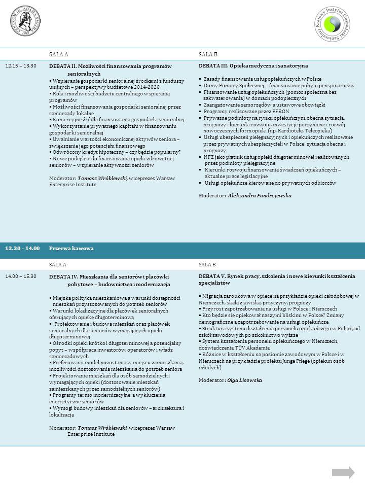 SALA ASALA B 12.15 – 13.30 DEBATA II. Możliwości finansowania programów senioralnych  Wspieranie gospodarki senioralnej środkami z funduszy unijnych