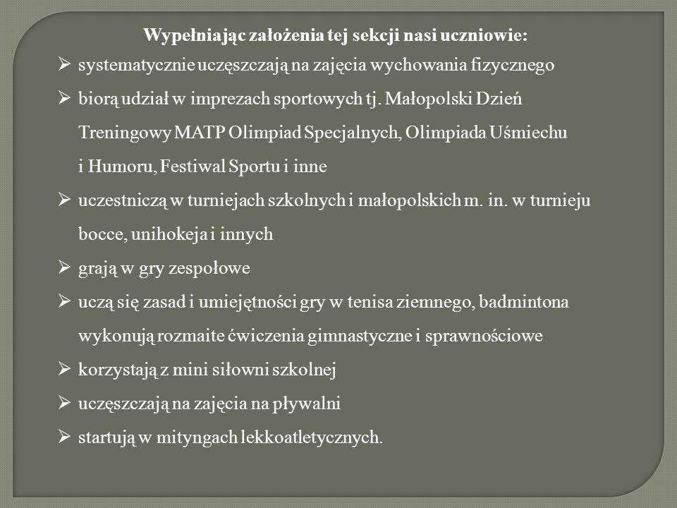 Wypełniając założenia tej sekcji nasi uczniowie:  systematycznie uczęszczają na zajęcia wychowania fizycznego  biorą udział w imprezach sportowych tj.