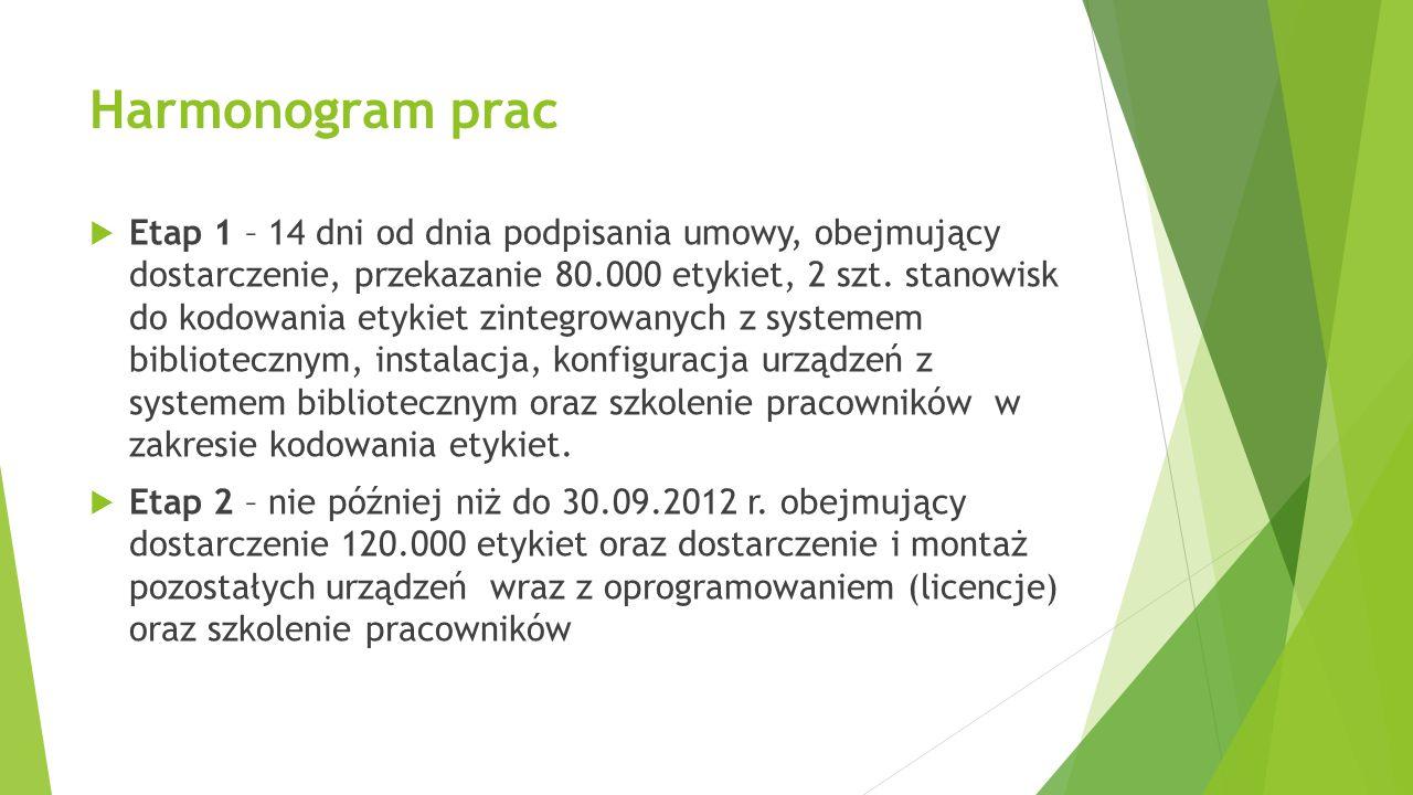 Harmonogram prac  Etap 1 – 14 dni od dnia podpisania umowy, obejmujący dostarczenie, przekazanie 80.000 etykiet, 2 szt. stanowisk do kodowania etykie