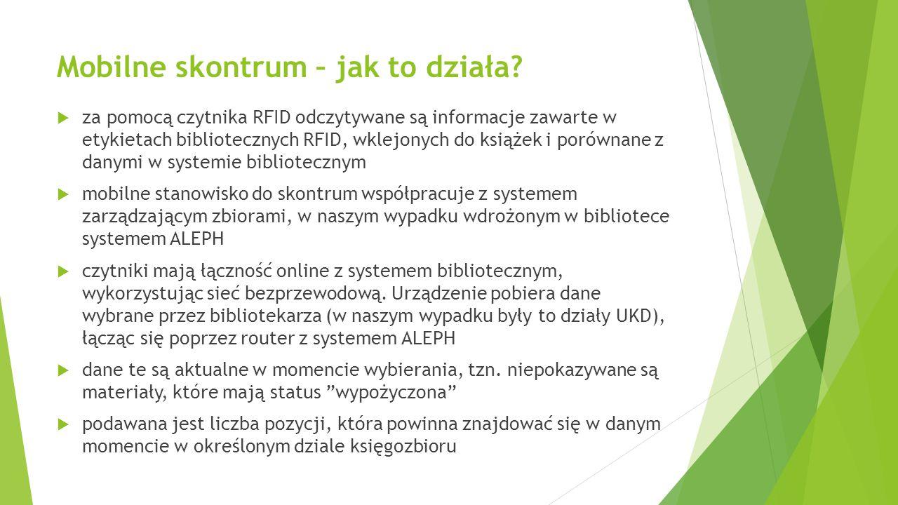 Mobilne skontrum – jak to działa?  za pomocą czytnika RFID odczytywane są informacje zawarte w etykietach bibliotecznych RFID, wklejonych do książek