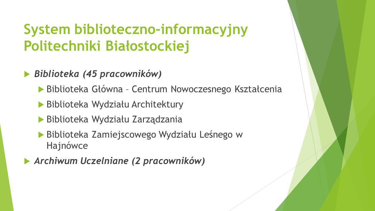 System biblioteczno-informacyjny Politechniki Białostockiej  Biblioteka (45 pracowników)  Biblioteka Główna – Centrum Nowoczesnego Kształcenia  Bib