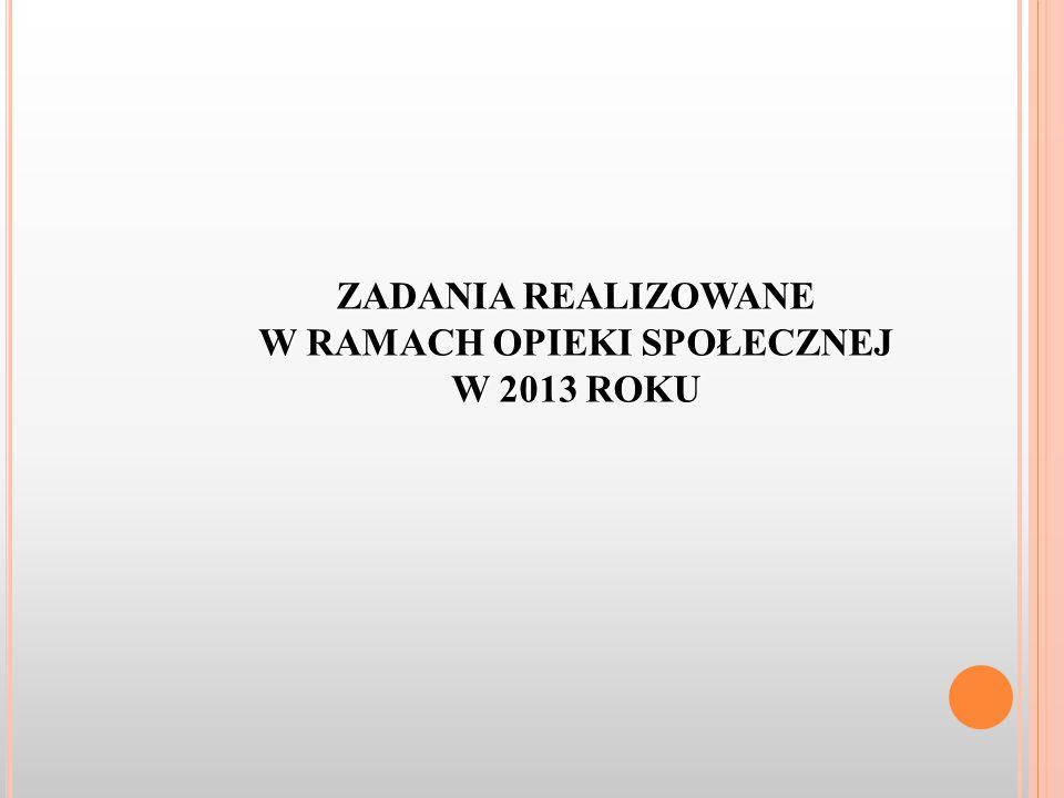 ZADANIA REALIZOWANE W RAMACH OPIEKI SPOŁECZNEJ W 2013 ROKU
