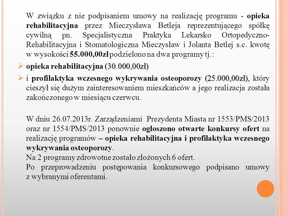 W związku z nie podpisaniem umowy na realizację programu - opieka rehabilitacyjna przez Mieczysława Betleja reprezentującego spółkę cywilną pn.