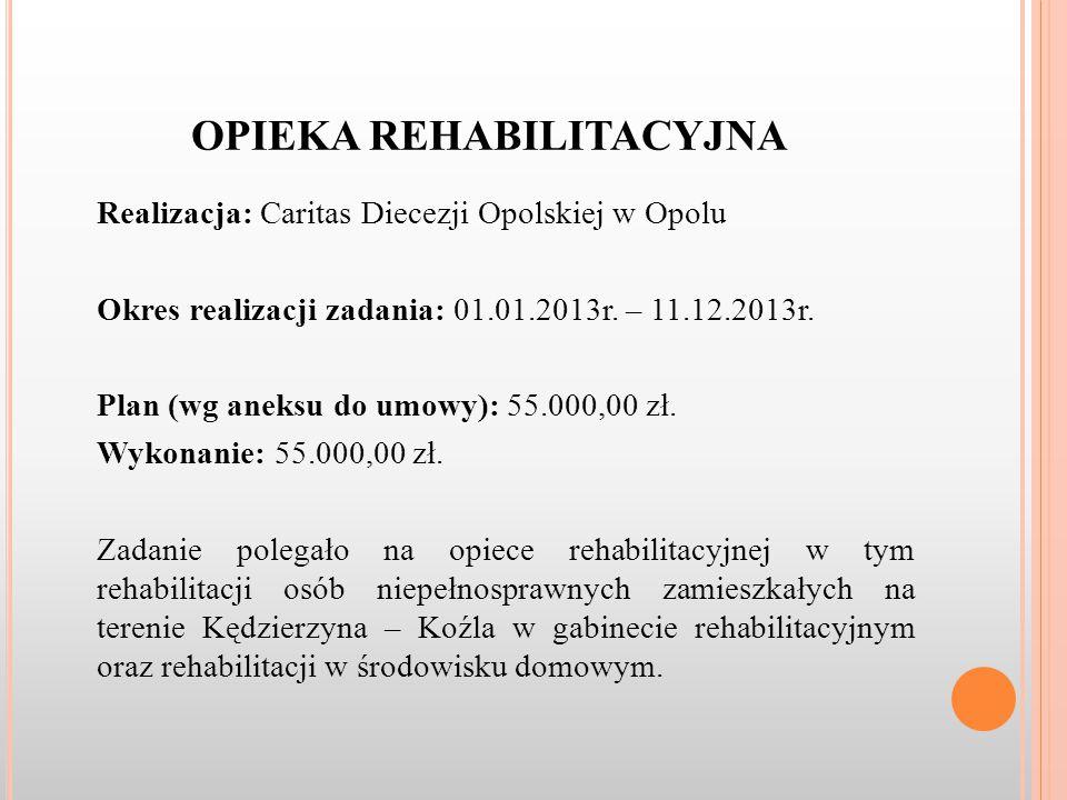 OPIEKA REHABILITACYJNA Realizacja: Caritas Diecezji Opolskiej w Opolu Okres realizacji zadania: 01.01.2013r.