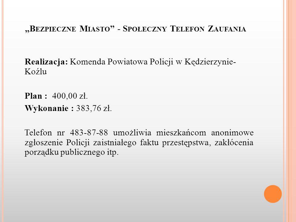 """""""B EZPIECZNE M IASTO - S POŁECZNY T ELEFON Z AUFANIA Realizacja: Komenda Powiatowa Policji w Kędzierzynie- Koźlu Plan : 400,00 zł."""