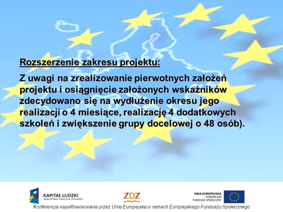 Konferencja wsp ó łfinansowana przez Unię Europejską w ramach Europejskiego Funduszu Społecznego Rozszerzenie zakresu projektu: Z uwagi na zrealizowanie pierwotnych założeń projektu i osiągnięcie założonych wskaźników zdecydowano się na wydłużenie okresu jego realizacji o 4 miesiące, realizację 4 dodatkowych szkoleń i zwiększenie grupy docelowej o 48 osób).