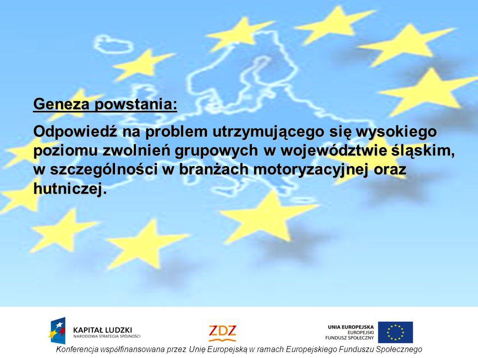 Konferencja wsp ó łfinansowana przez Unię Europejską w ramach Europejskiego Funduszu Społecznego Geneza powstania: Odpowiedź na problem utrzymującego się wysokiego poziomu zwolnień grupowych w województwie śląskim, w szczególności w branżach motoryzacyjnej oraz hutniczej.