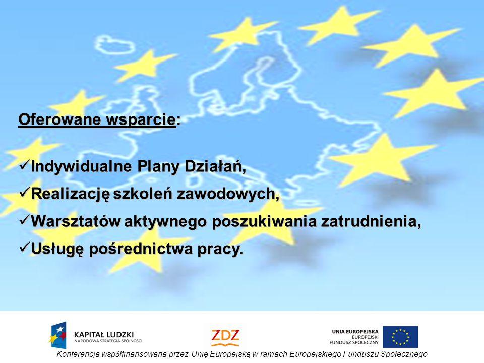 Konferencja wsp ó łfinansowana przez Unię Europejską w ramach Europejskiego Funduszu Społecznego Oferowane wsparcie: Indywidualne Plany Działań, Indywidualne Plany Działań, Realizację szkoleń zawodowych, Realizację szkoleń zawodowych, Warsztatów aktywnego poszukiwania zatrudnienia, Warsztatów aktywnego poszukiwania zatrudnienia, Usługę pośrednictwa pracy.
