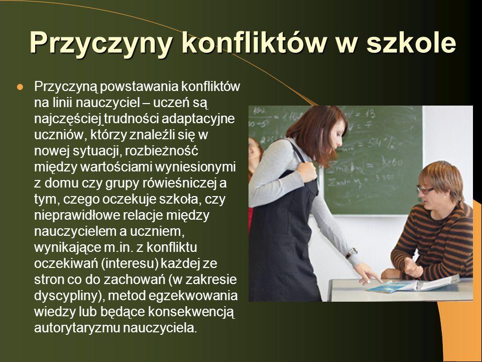 Przyczyny konfliktów w szkole Przyczyną powstawania konfliktów na linii nauczyciel – uczeń są najczęściej trudności adaptacyjne uczniów, którzy znaleź