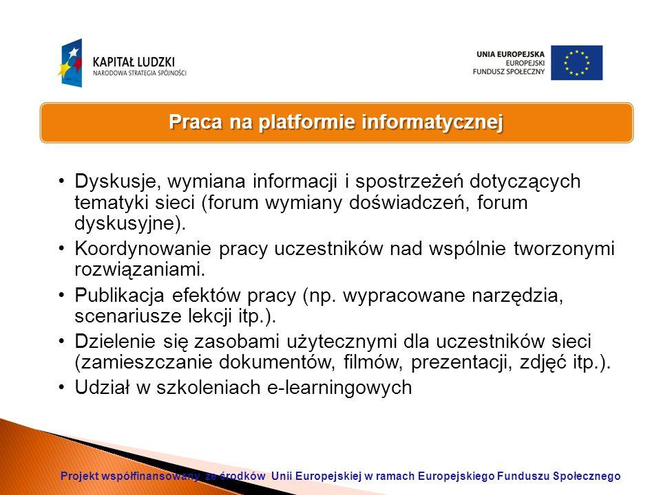 Praca na platformie informatycznej Dyskusje, wymiana informacji i spostrzeżeń dotyczących tematyki sieci (forum wymiany doświadczeń, forum dyskusyjne).