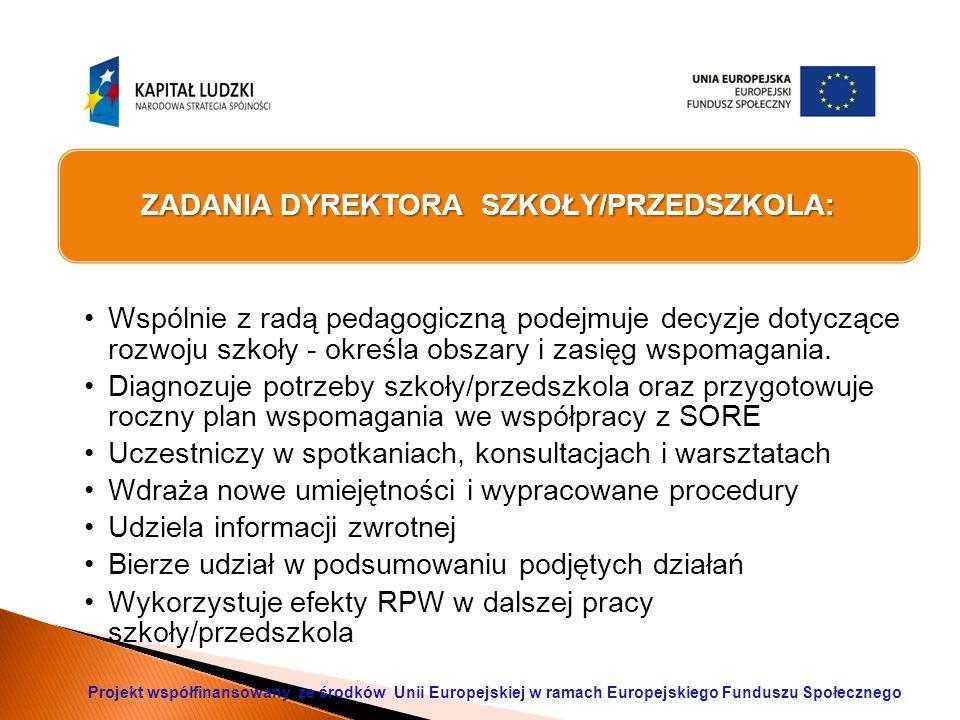 ZADANIA DYREKTORA SZKOŁY/PRZEDSZKOLA: Wspólnie z radą pedagogiczną podejmuje decyzje dotyczące rozwoju szkoły - określa obszary i zasięg wspomagania.