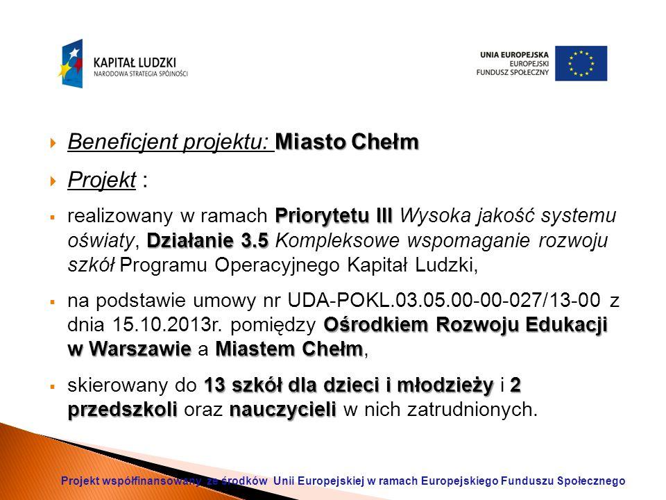 Miasto Chełm  Beneficjent projektu: Miasto Chełm  Projekt : Priorytetu III Działanie 3.5  realizowany w ramach Priorytetu III Wysoka jakość systemu oświaty, Działanie 3.5 Kompleksowe wspomaganie rozwoju szkół Programu Operacyjnego Kapitał Ludzki, Ośrodkiem Rozwoju Edukacji w Warszawie Miastem Chełm  na podstawie umowy nr UDA-POKL.03.05.00-00-027/13-00 z dnia 15.10.2013r.