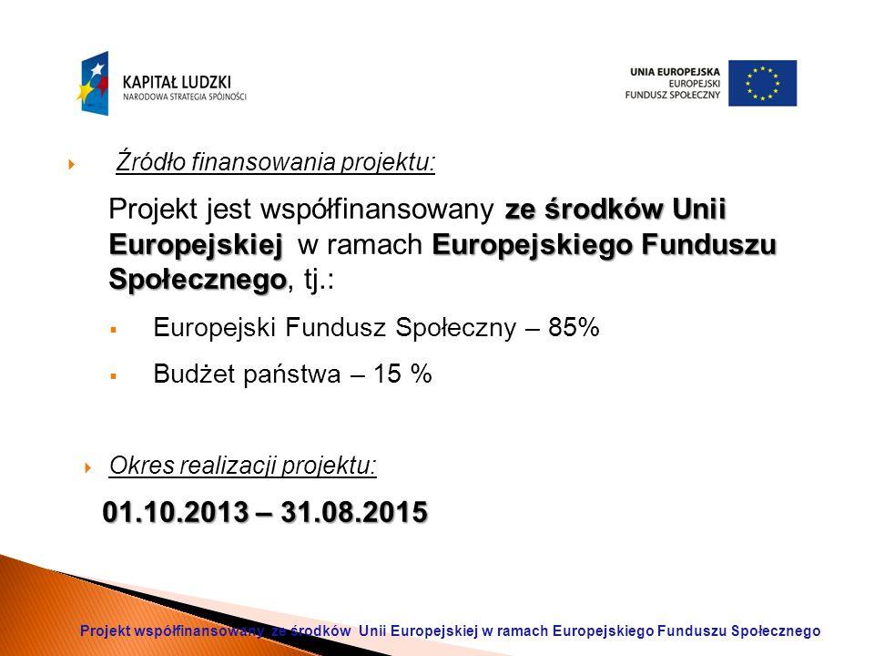  Źródło finansowania projektu: ze środków Unii Europejskiej Europejskiego Funduszu Społecznego Projekt jest współfinansowany ze środków Unii Europejskiej w ramach Europejskiego Funduszu Społecznego, tj.:  Europejski Fundusz Społeczny – 85%  Budżet państwa – 15 %  Okres realizacji projektu: 01.10.2013 – 31.08.2015 Projekt współfinansowany ze środków Unii Europejskiej w ramach Europejskiego Funduszu Społecznego
