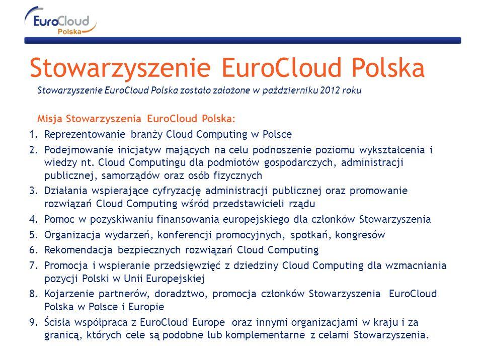 Stowarzyszenie EuroCloud Polska Stowarzyszenie EuroCloud Polska zostało założone w październiku 2012 roku Misja Stowarzyszenia EuroCloud Polska: 1.Reprezentowanie branży Cloud Computing w Polsce 2.Podejmowanie inicjatyw mających na celu podnoszenie poziomu wykształcenia i wiedzy nt.