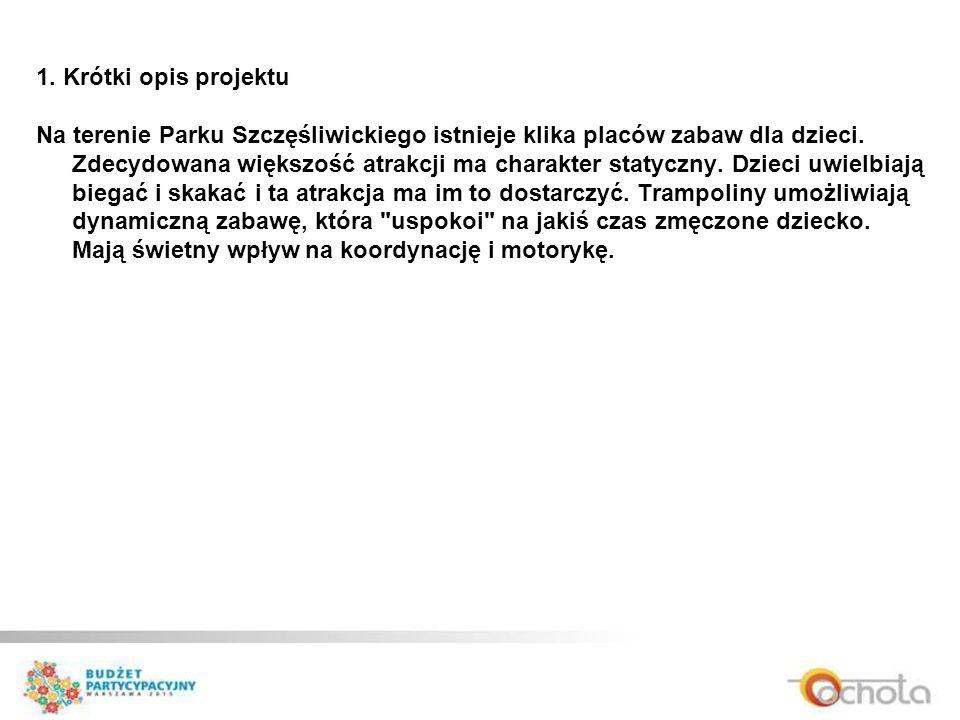 1. Krótki opis projektu Na terenie Parku Szczęśliwickiego istnieje klika placów zabaw dla dzieci.