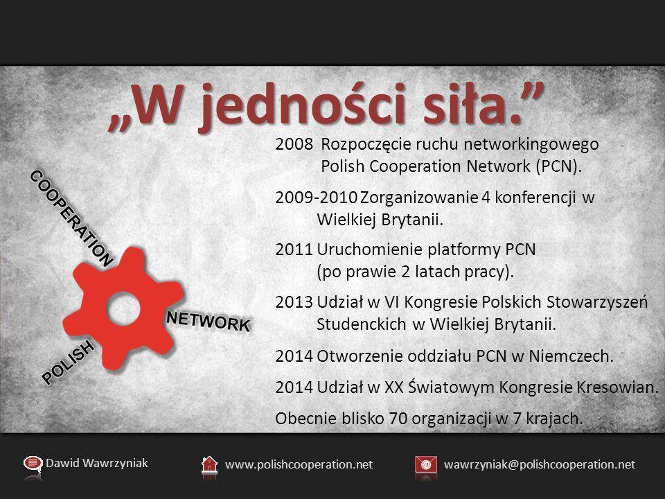 """""""W jedności siła. Dawid Wawrzyniak www.polishcooperation.netwawrzyniak@polishcooperation.net 2008 Rozpoczęcie ruchu networkingowego Polish Cooperation Network (PCN)."""