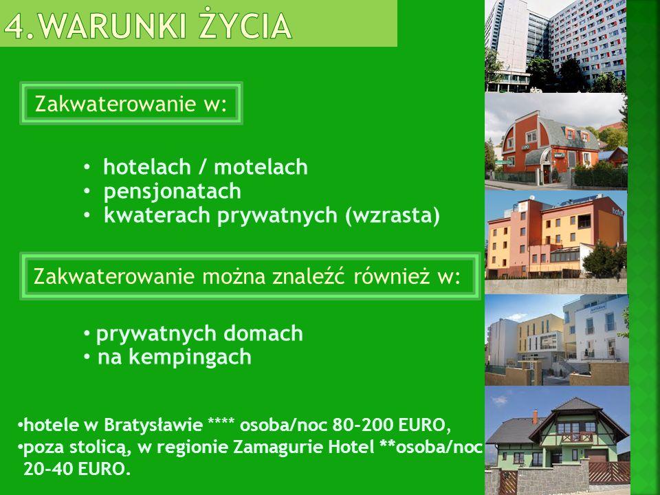Zakwaterowanie w: hotelach / motelach pensjonatach kwaterach prywatnych (wzrasta) prywatnych domach na kempingach hotele w Bratysławie **** osoba/noc