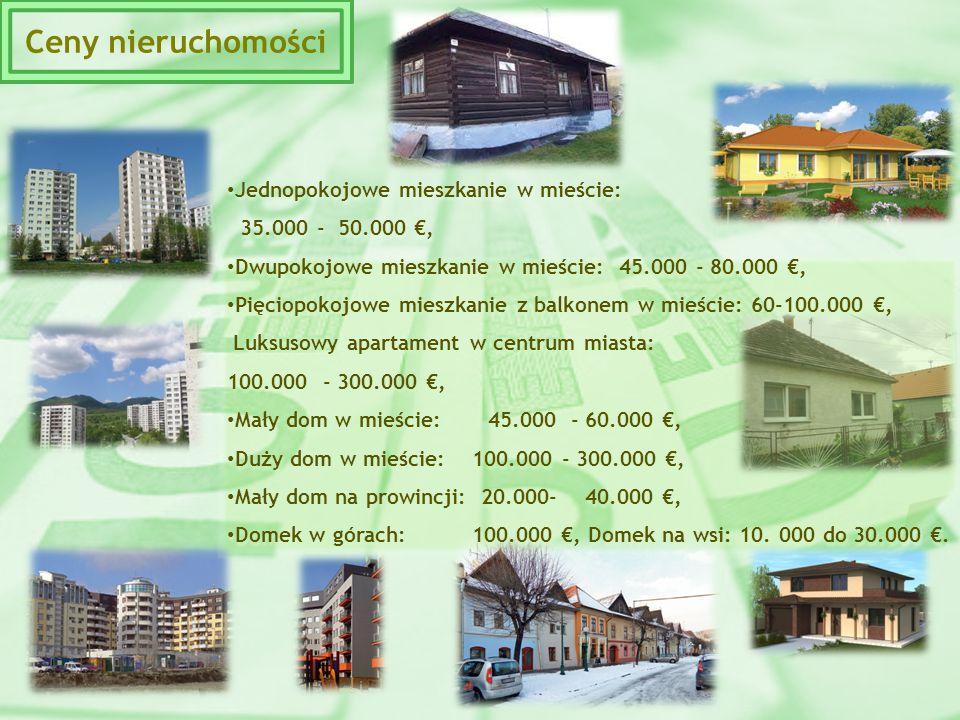 Jednopokojowe mieszkanie w mieście: 35.000 - 50.000 €, Dwupokojowe mieszkanie w mieście: 45.000 - 80.000 €, Pięciopokojowe mieszkanie z balkonem w mie