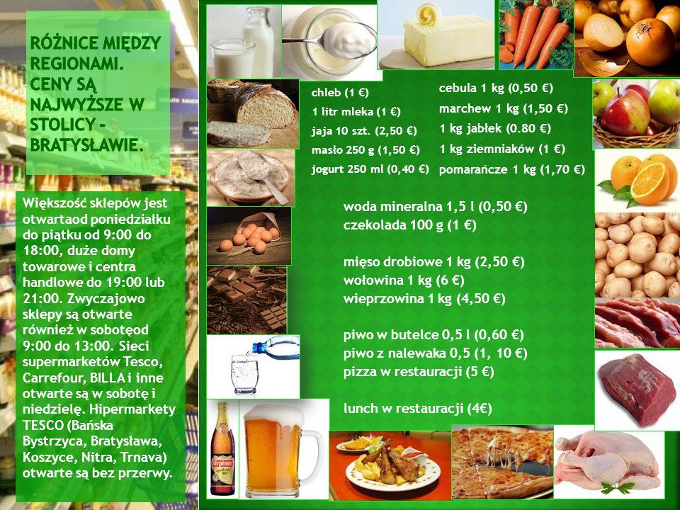 chleb (1 €) 1 litr mleka (1 €) jaja 10 szt. (2,50 €) masło 250 g (1,50 €) jogurt 250 ml (0,40 €) Większość sklepów jest otwartaod poniedziałku do piąt