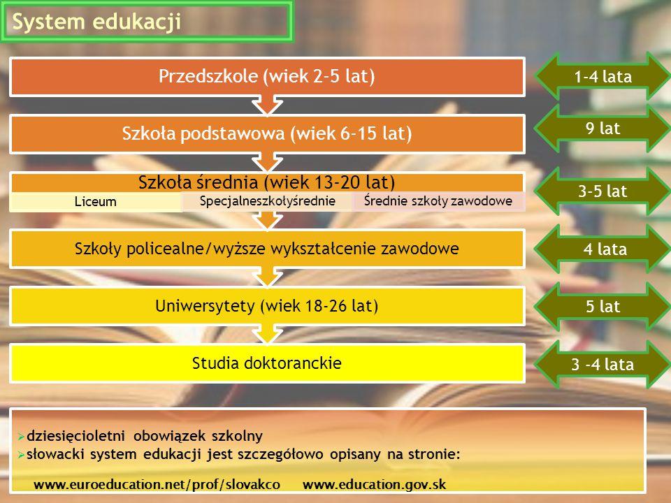  dziesięcioletni obowiązek szkolny  słowacki system edukacji jest szczegółowo opisany na stronie: www.euroeducation.net/prof/slovakco www.education.