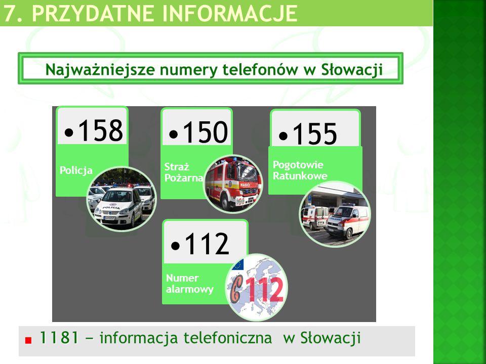 1181 - 1181 - informacja telefoniczna w Słowacji Najważniejsze numery telefonów w Słowacji 158 Policja 150 Straż Pożarna 155 Pogotowie Ratunkowe 112 N