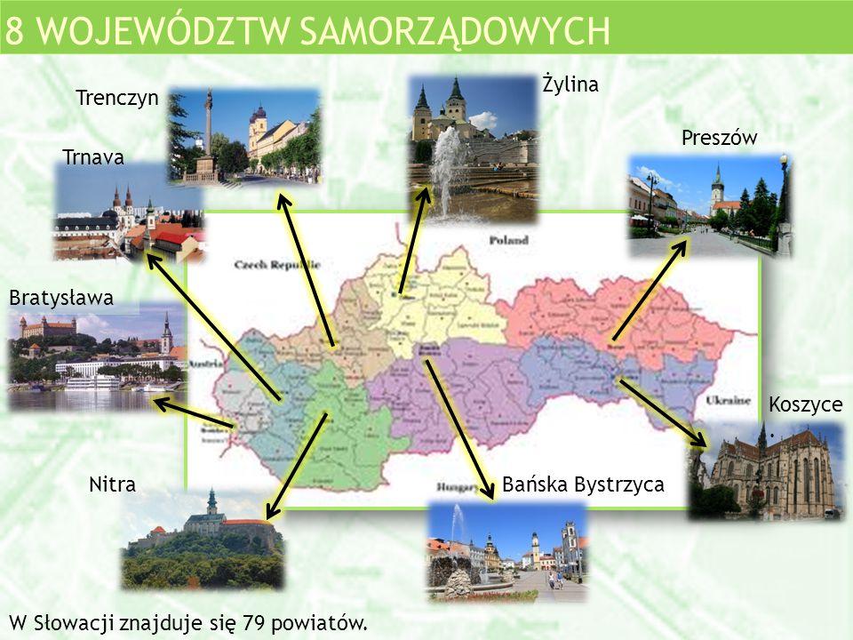 8 WOJEWÓDZTW SAMORZĄDOWYCH Trnava Nitra Bratysława Preszów Koszyce. Bańska Bystrzyca Trenczyn Żylina W Słowacji znajduje się 79 powiatów.